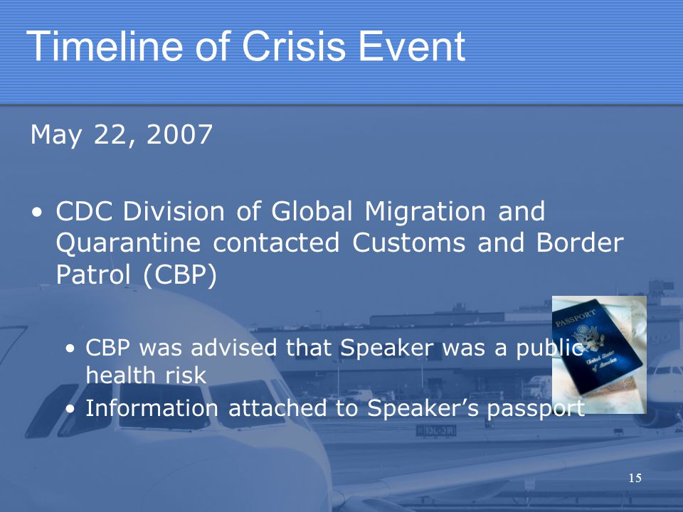 Timeline of Crisis Event May 22, 2007 CDC Division of Global Migration and Quarantine contacted Customs and Border Patrol (CBP) CBP was advised that S