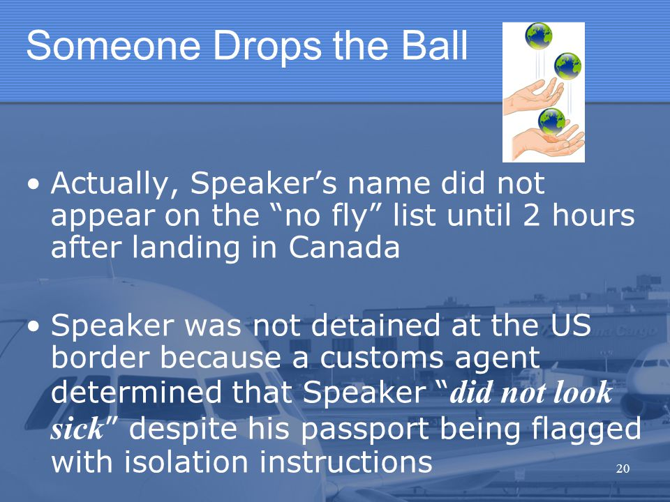 """Someone Drops the Ball Actually, Speaker's name did not appear on the """"no fly"""" list until 2 hours after landing in Canada Speaker was not detained at"""