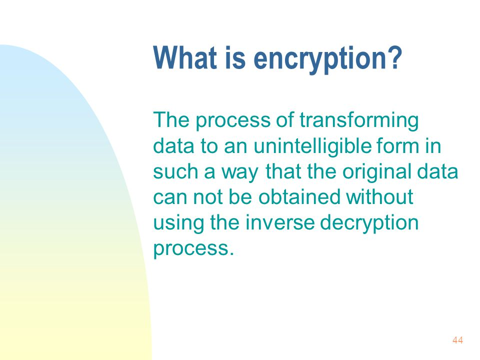 44 What is encryption.