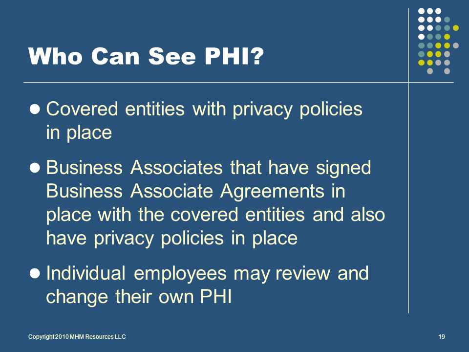 Copyright 2010 MHM Resources LLC19 Who Can See PHI.