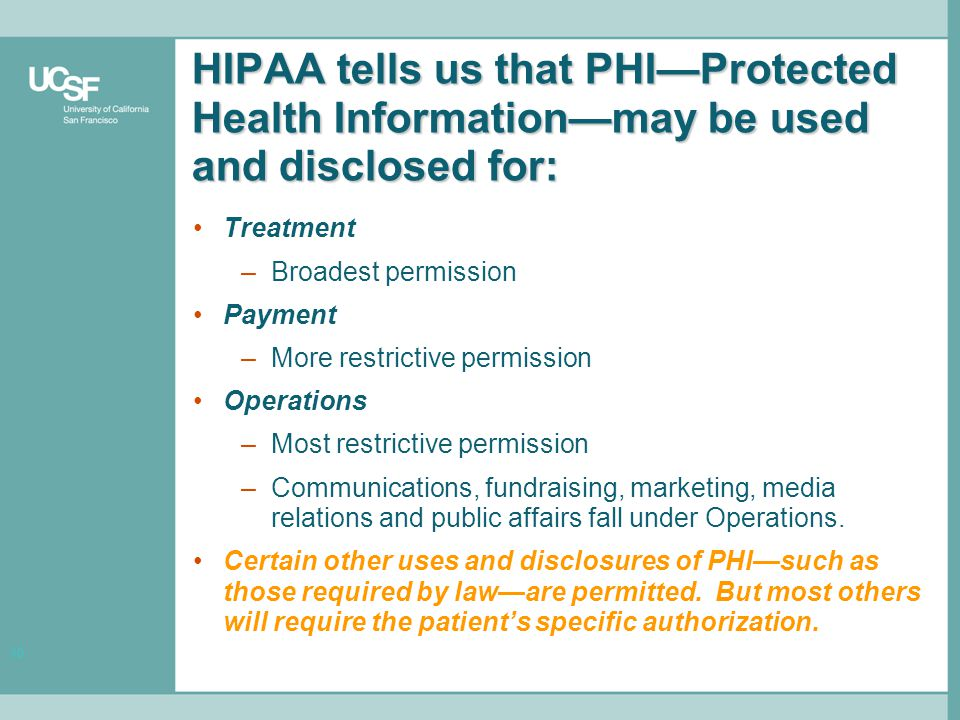 10 HIPAA tells us that PHI—Protected Health Information—may be used and disclosed for: Treatment –Broadest permission Payment –More restrictive permission Operations –Most restrictive permission –Communications, fundraising, marketing, media relations and public affairs fall under Operations.