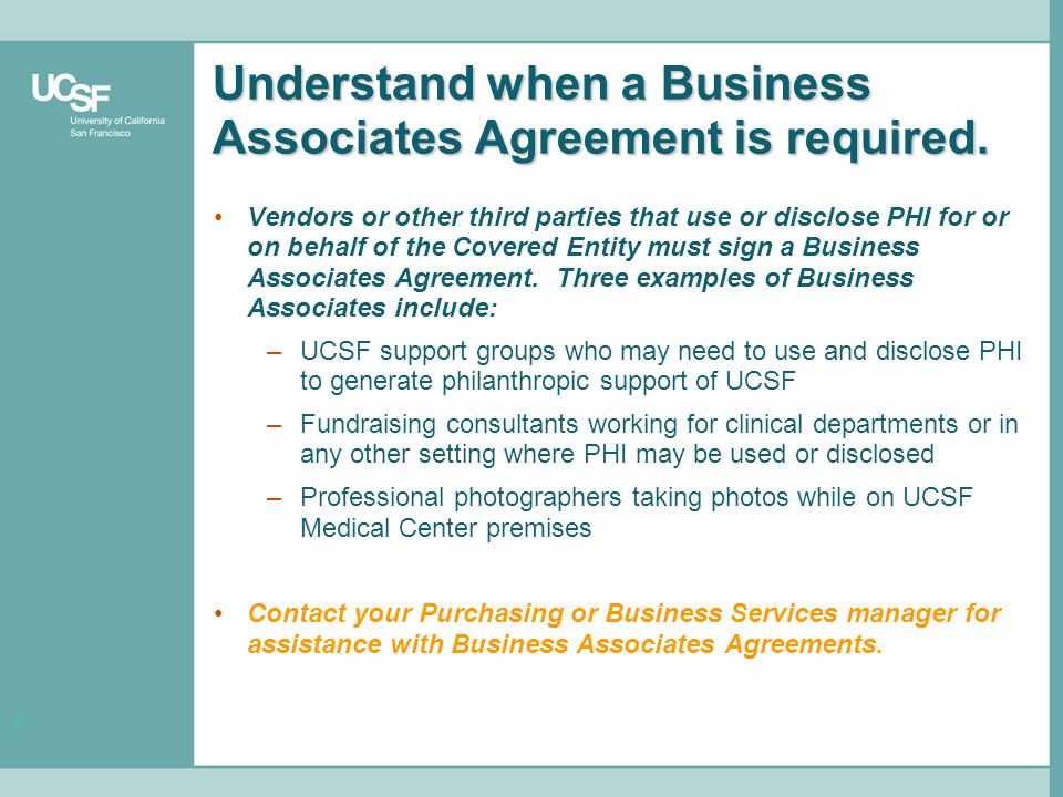 31 Understand when a Business Associates Agreement is required.