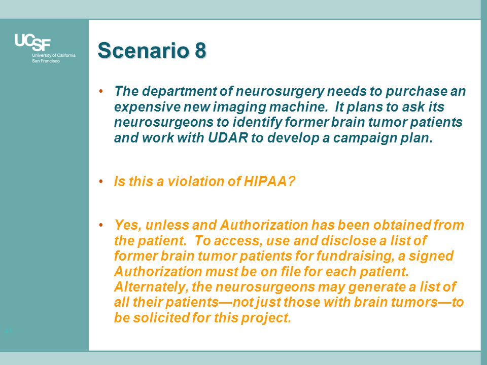 41 Scenario 8 The department of neurosurgery needs to purchase an expensive new imaging machine.