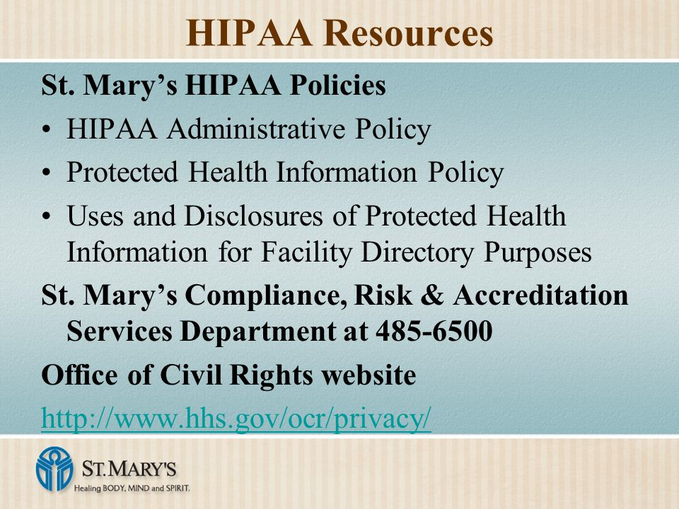 HIPAA Resources St.