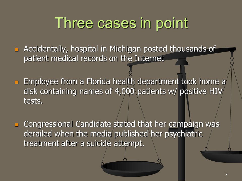 Three cases in point Accidentally, hospital in Michigan posted thousands of patient medical records on the Internet Accidentally, hospital in Michigan