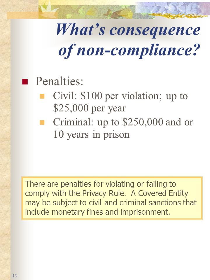 15 What's consequence of non-compliance.