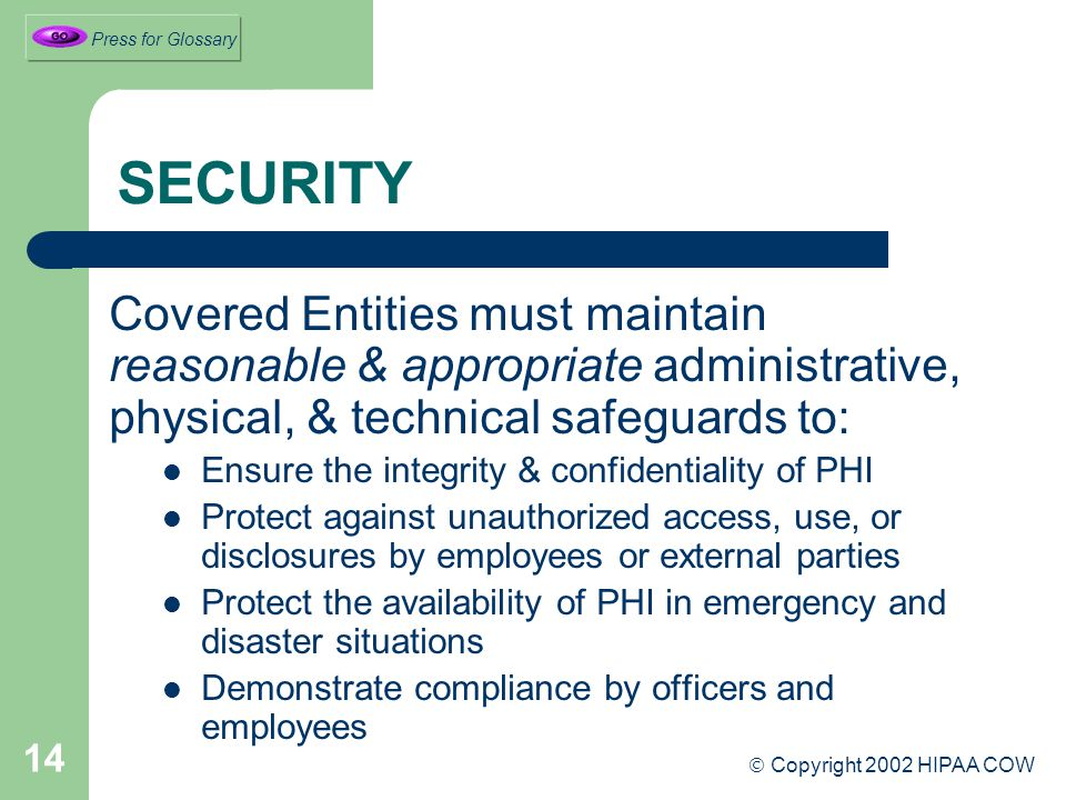 14 SECURITY Covered Entities must maintain reasonable & appropriate administrative, physical, & technical safeguards to: Ensure the integrity & confidentiality of PHI Protect against unauthorized access, use, or disclosures by employees or external parties Protect the availability of PHI in emergency and disaster situations Demonstrate compliance by officers and employees  Copyright 2002 HIPAA COW Press for Glossary