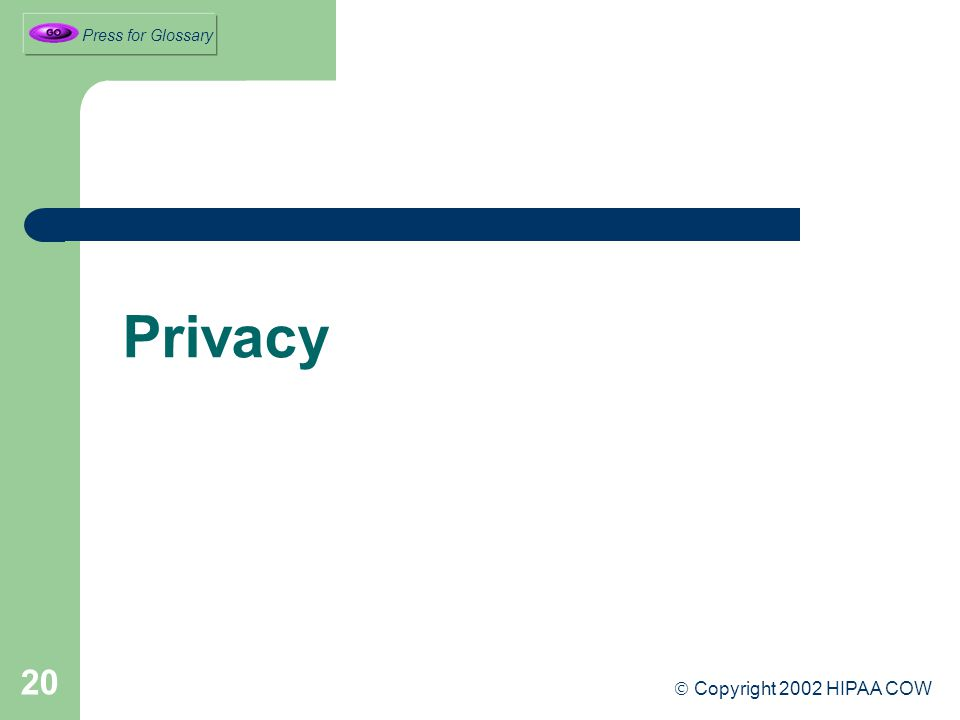 20 Privacy  Copyright 2002 HIPAA COW Press for Glossary
