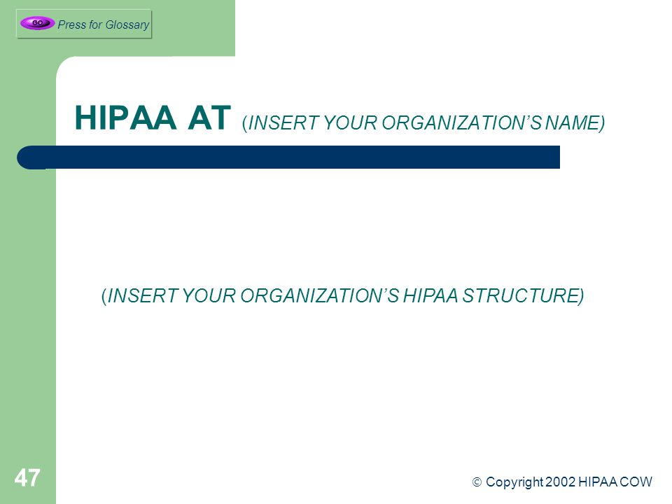 47 HIPAA AT (INSERT YOUR ORGANIZATION'S NAME) (INSERT YOUR ORGANIZATION'S HIPAA STRUCTURE)  Copyright 2002 HIPAA COW Press for Glossary