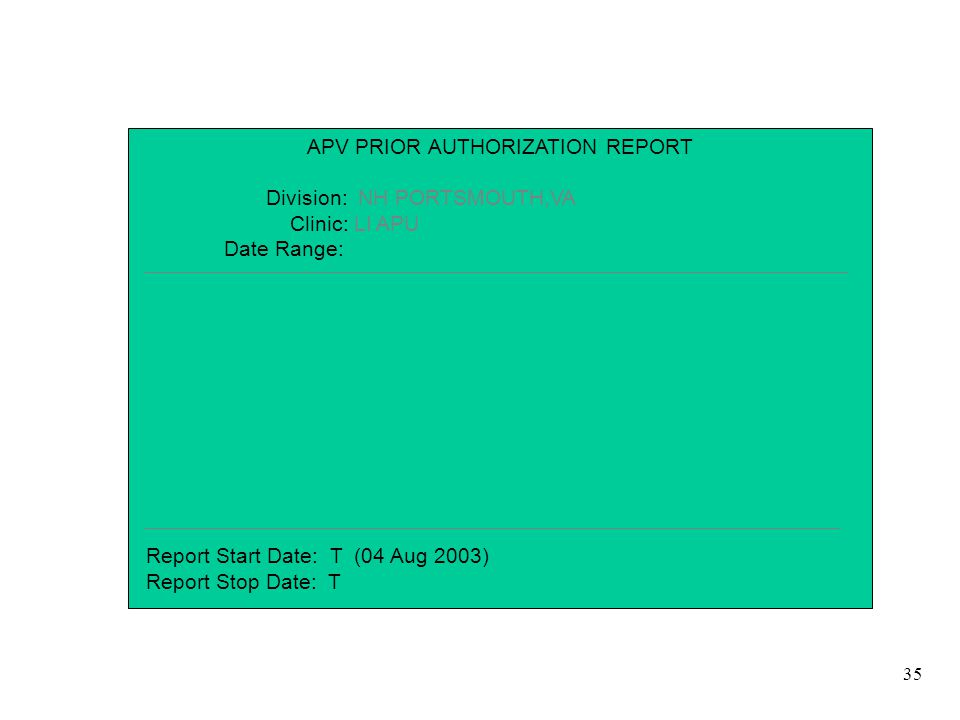 35 APV PRIOR AUTHORIZATION REPORT Division: NH PORTSMOUTH,VA Clinic: LI APU Date Range: Report Start Date: T (04 Aug 2003) Report Stop Date: T