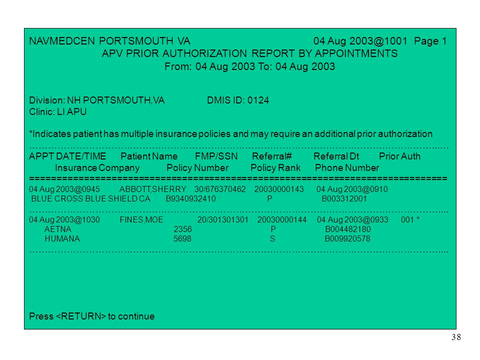 38 NAVMEDCEN PORTSMOUTH VA 04 Aug 2003@1001 Page 1 APV PRIOR AUTHORIZATION REPORT BY APPOINTMENTS From: 04 Aug 2003 To: 04 Aug 2003 Division: NH PORTS