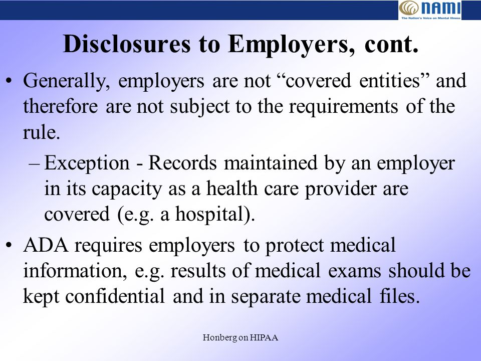 Honberg on HIPAA Disclosures to Employers, cont.