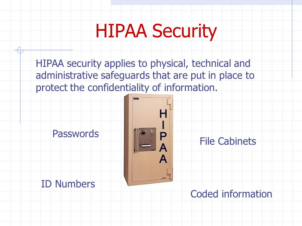 HIPAA Security HIPAA security applies to physical, technical and administrative safeguards that are put in place to protect the confidentiality of information.