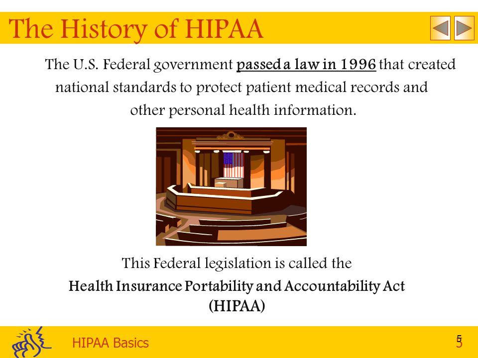 HIPAA Basics5 5 The History of HIPAA This Federal legislation is called the Health Insurance Portability and Accountability Act (HIPAA) The U.S.