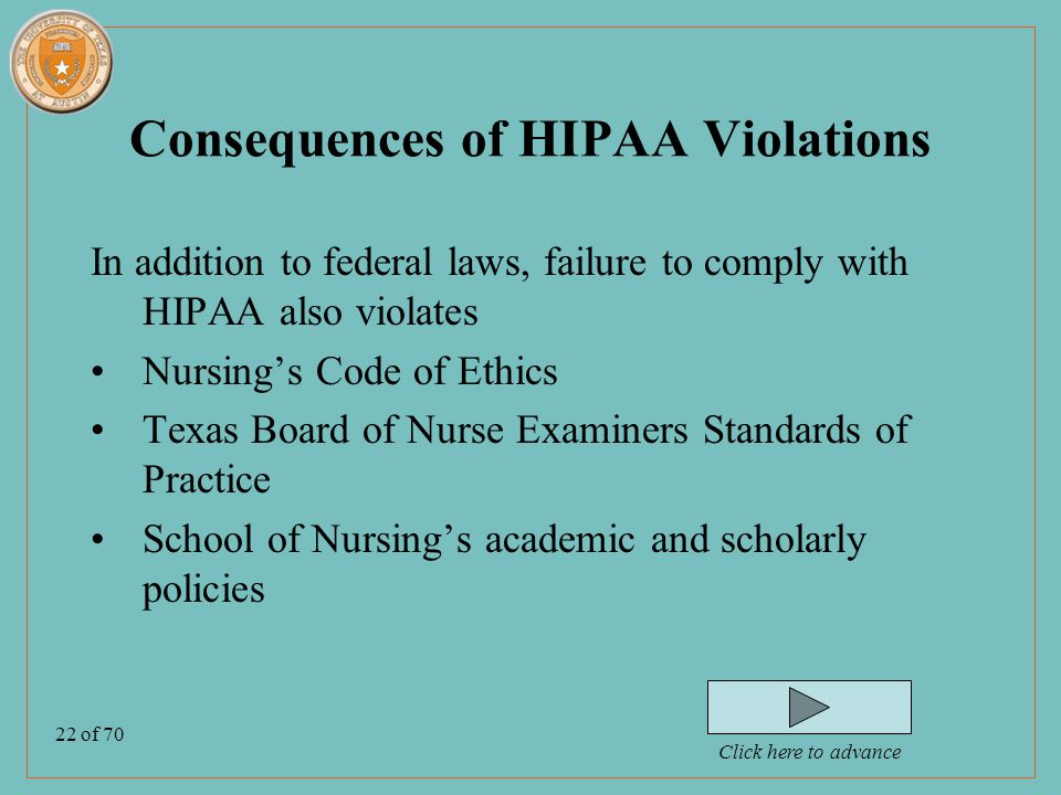 22 of 70 Consequences of HIPAA Violations In addition to federal laws, failure to comply with HIPAA also violates Nursing's Code of Ethics Texas Board of Nurse Examiners Standards of Practice School of Nursing's academic and scholarly policies Click here to advance