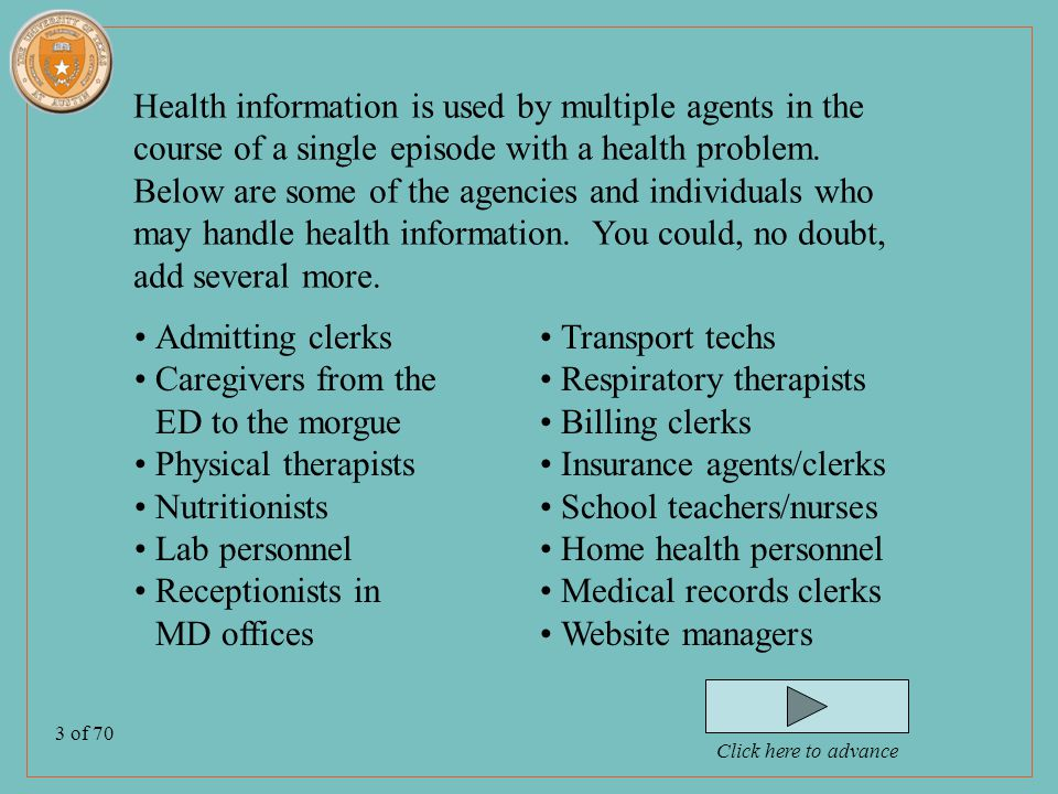 14 of 70 Seven Rights…continued 4.Access their protected health information (PHI), except for psychotherapy notes (they might be charged for copies) 5.Request amendment or addendum to their PHI (not always granted) 6.Receive accountings of disclosures 7.File privacy complaints to agency officer Click here to advance
