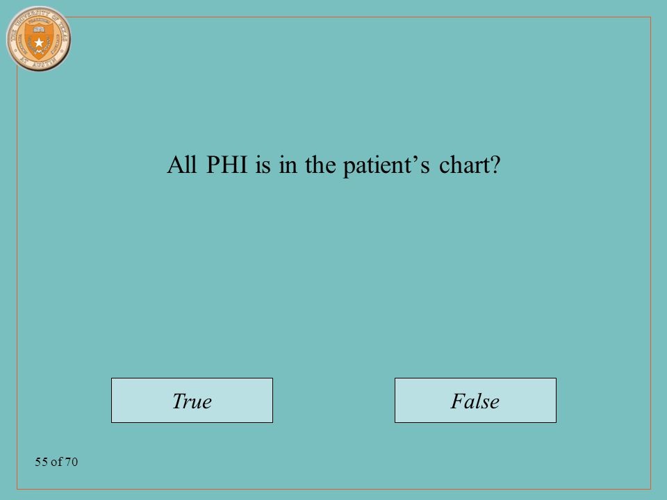 55 of 70 All PHI is in the patient's chart TrueFalse