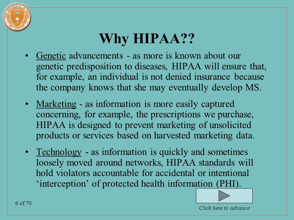 6 of 70 Why HIPAA .