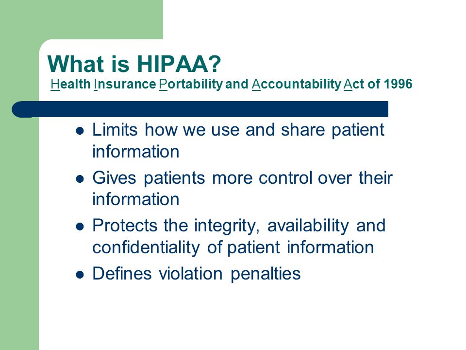 What is Protected under HIPAA.