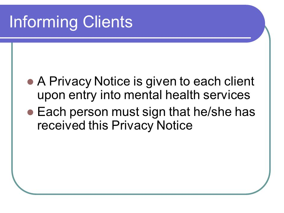 Consumer Rights Under HIPAA Right to access DRS Right to amend DRS Right to restrict sharing of PHI Right to accounting of uses and disclosures of PHI Right to file complaints concerning a providers Privacy Practices