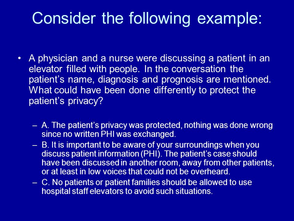 Consider the following example: A physician and a nurse were discussing a patient in an elevator filled with people.