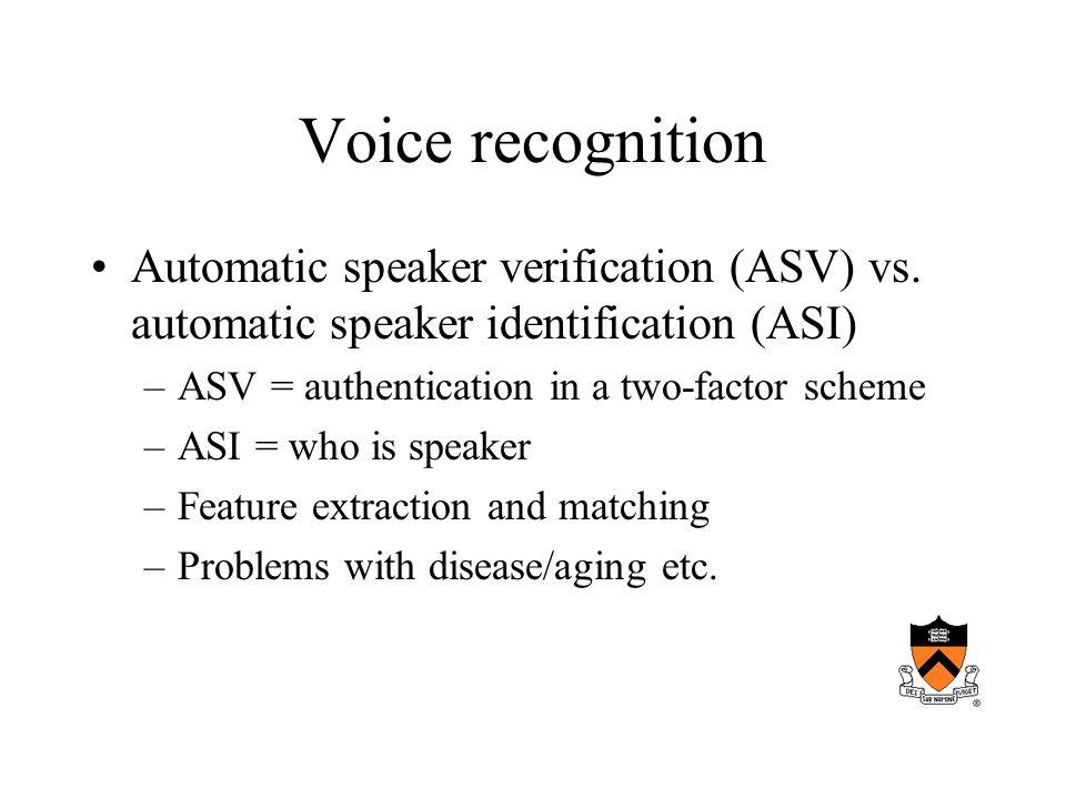 Voice recognition Automatic speaker verification (ASV) vs.