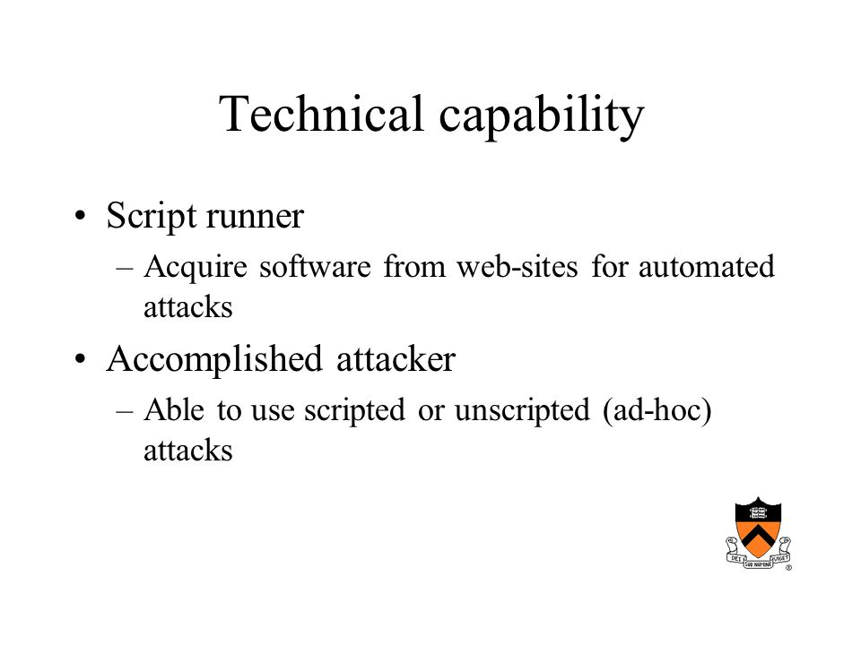 Technical capability Script runner –Acquire software from web-sites for automated attacks Accomplished attacker –Able to use scripted or unscripted (ad-hoc) attacks