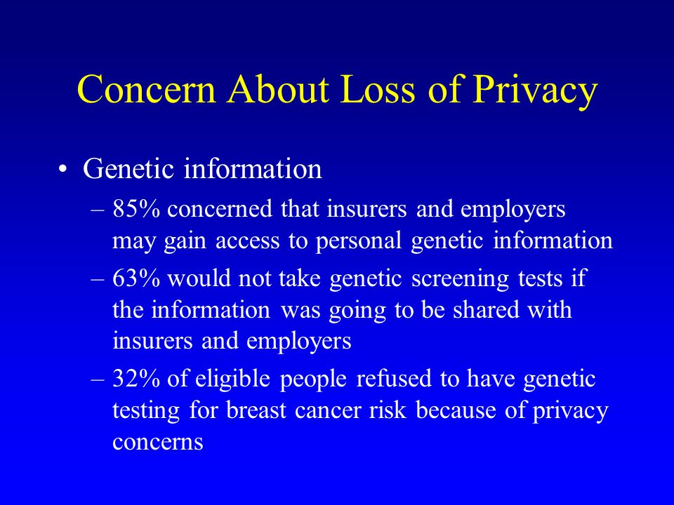 Concern About Loss of Privacy Genetic information –85% concerned that insurers and employers may gain access to personal genetic information –63% would not take genetic screening tests if the information was going to be shared with insurers and employers –32% of eligible people refused to have genetic testing for breast cancer risk because of privacy concerns