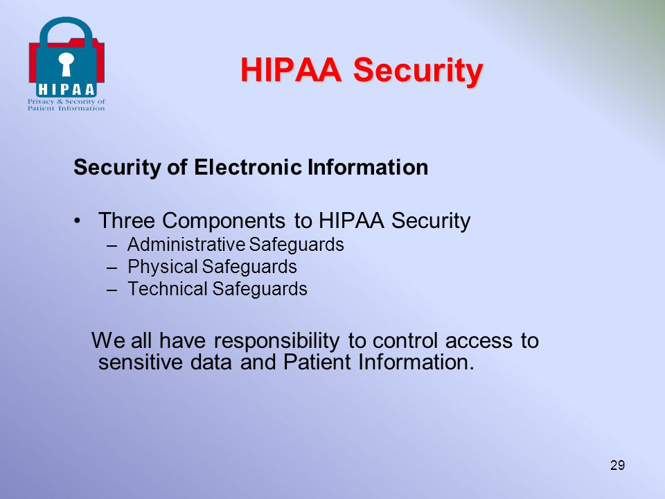 HIPAA Security Security of Electronic Information Three Components to HIPAA Security –Administrative Safeguards –Physical Safeguards –Technical Safegu