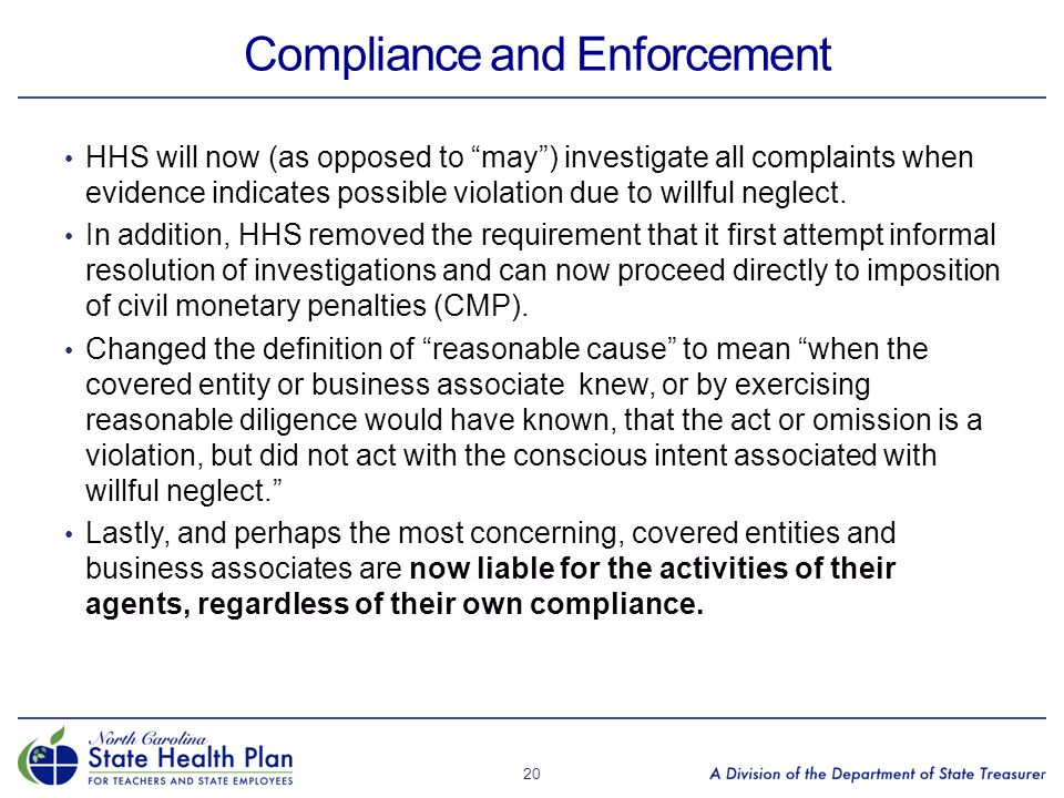"""Compliance and Enforcement HHS will now (as opposed to """"may"""") investigate all complaints when evidence indicates possible violation due to willful neg"""