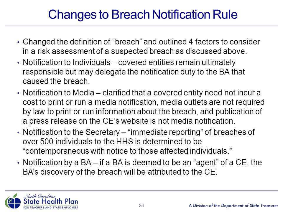 """Changes to Breach Notification Rule Changed the definition of """"breach"""" and outlined 4 factors to consider in a risk assessment of a suspected breach a"""
