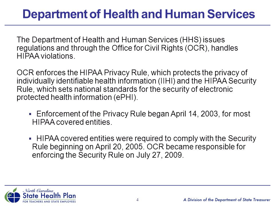 Department of Health and Human Services The Department of Health and Human Services (HHS) issues regulations and through the Office for Civil Rights (