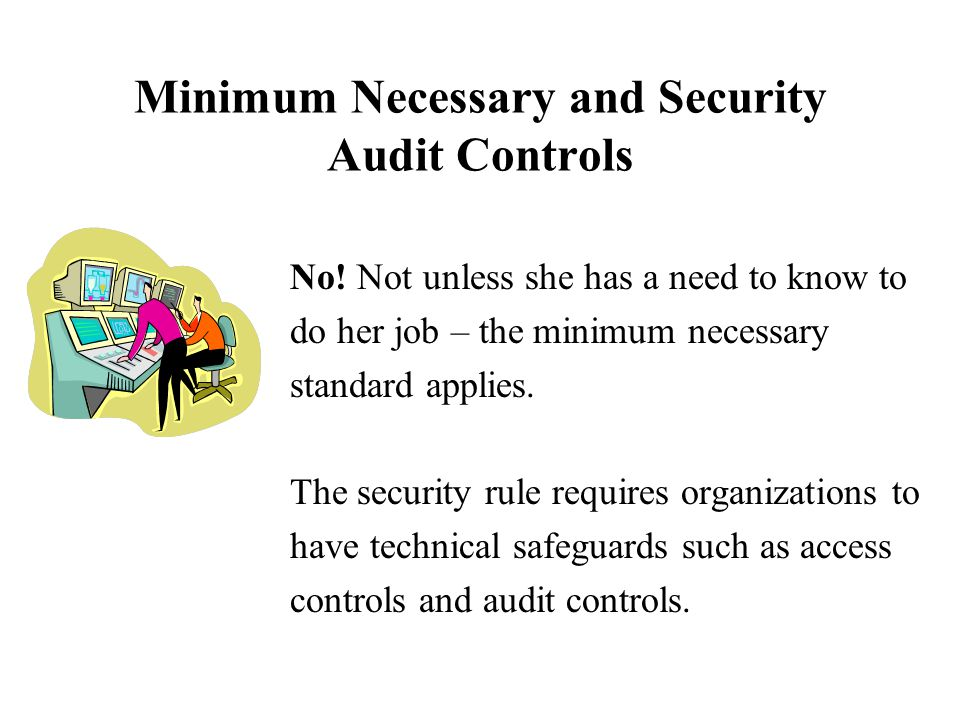 Minimum Necessary and Security Audit Controls No.