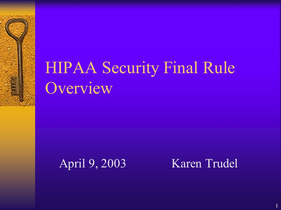 1 HIPAA Security Final Rule Overview April 9, 2003Karen Trudel