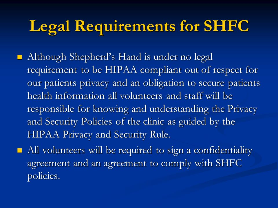SHFC Security Policy cont.