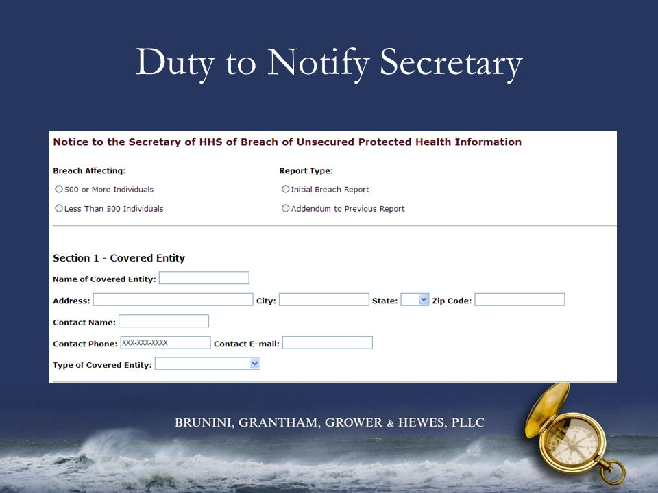 Duty to Notify Secretary