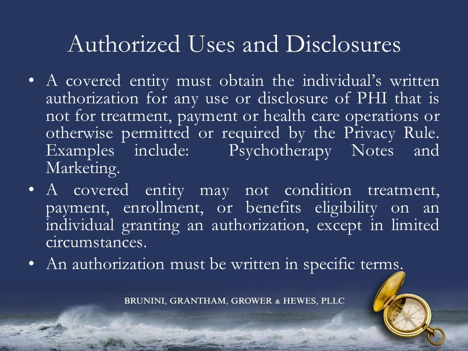Privacy Practices Notice Each covered entity, with certain exceptions, must provide a notice of its privacy practices.