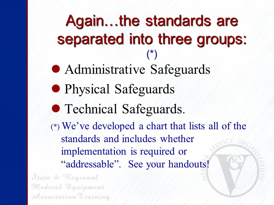 Again…the standards are separated into three groups: Again…the standards are separated into three groups: (*) Administrative Safeguards Physical Safeguards Technical Safeguards.