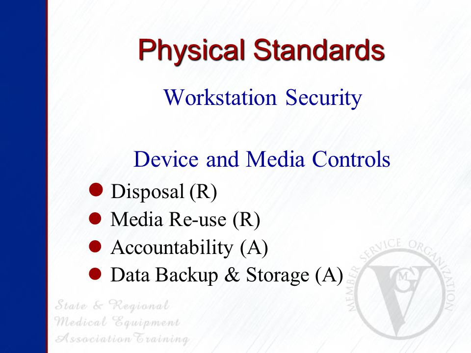 Technical Standards Access Control Unique User Id (R) Emergency Access (R) Automatic Logoff (A) Encryption and Decryption (A) Audit Controls