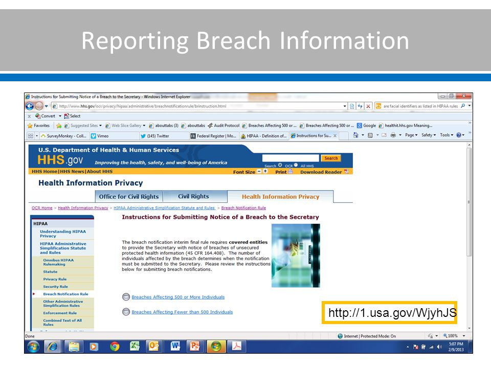 Reporting Breach Information http://1.usa.gov/WjyhJS