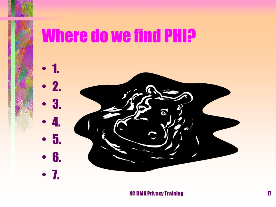 NC DMH Privacy Training17 Where do we find PHI 1. 2. 3. 4. 5. 6. 7.