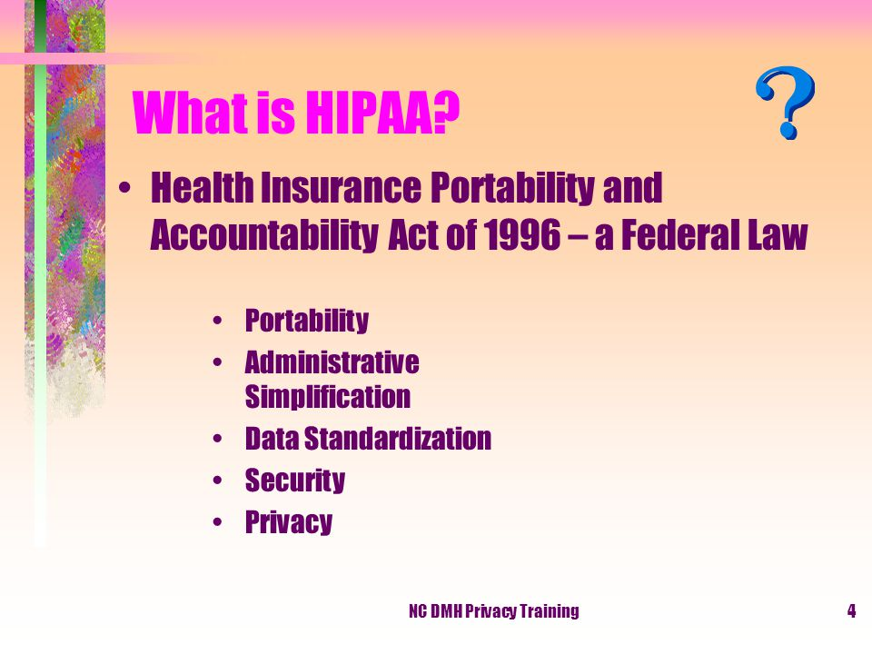 NC DMH Privacy Training4 What is HIPAA.