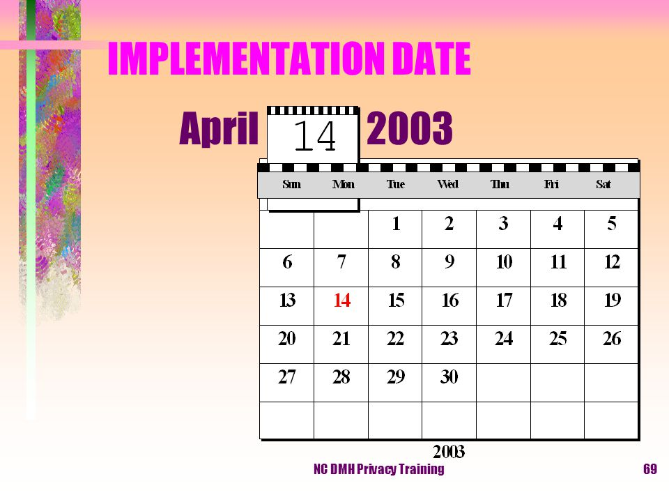 NC DMH Privacy Training69 IMPLEMENTATION DATE April 2003
