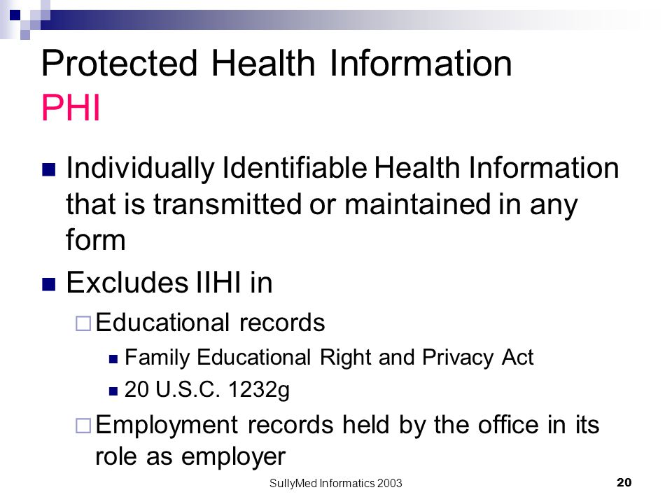 SullyMed Informatics 2003 20 Protected Health Information PHI Individually Identifiable Health Information that is transmitted or maintained in any form Excludes IIHI in  Educational records Family Educational Right and Privacy Act 20 U.S.C.