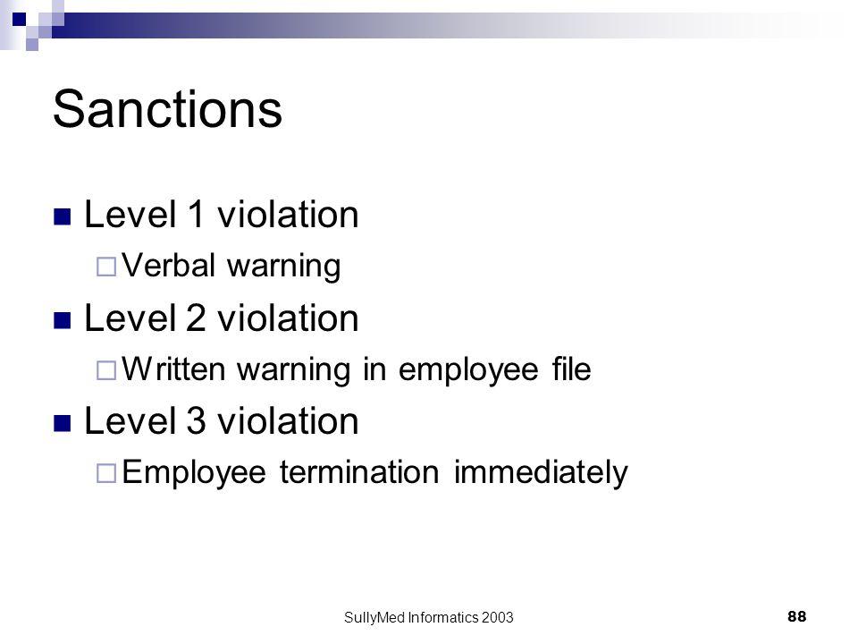 SullyMed Informatics 2003 88 Sanctions Level 1 violation  Verbal warning Level 2 violation  Written warning in employee file Level 3 violation  Emp