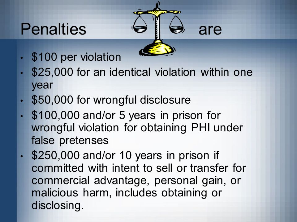 Penalties are $100 per violation $25,000 for an identical violation within one year $50,000 for wrongful disclosure $100,000 and/or 5 years in prison for wrongful violation for obtaining PHI under false pretenses $250,000 and/or 10 years in prison if committed with intent to sell or transfer for commercial advantage, personal gain, or malicious harm, includes obtaining or disclosing.