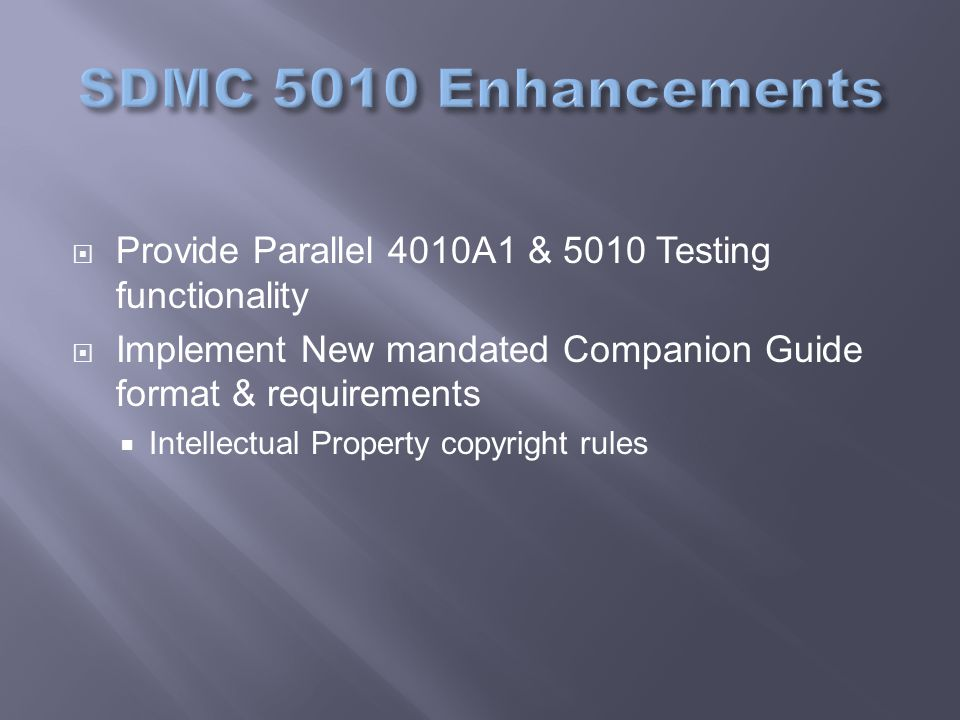 Provide Parallel 4010A1 & 5010 Testing functionality  Implement New mandated Companion Guide format & requirements  Intellectual Property copyright rules