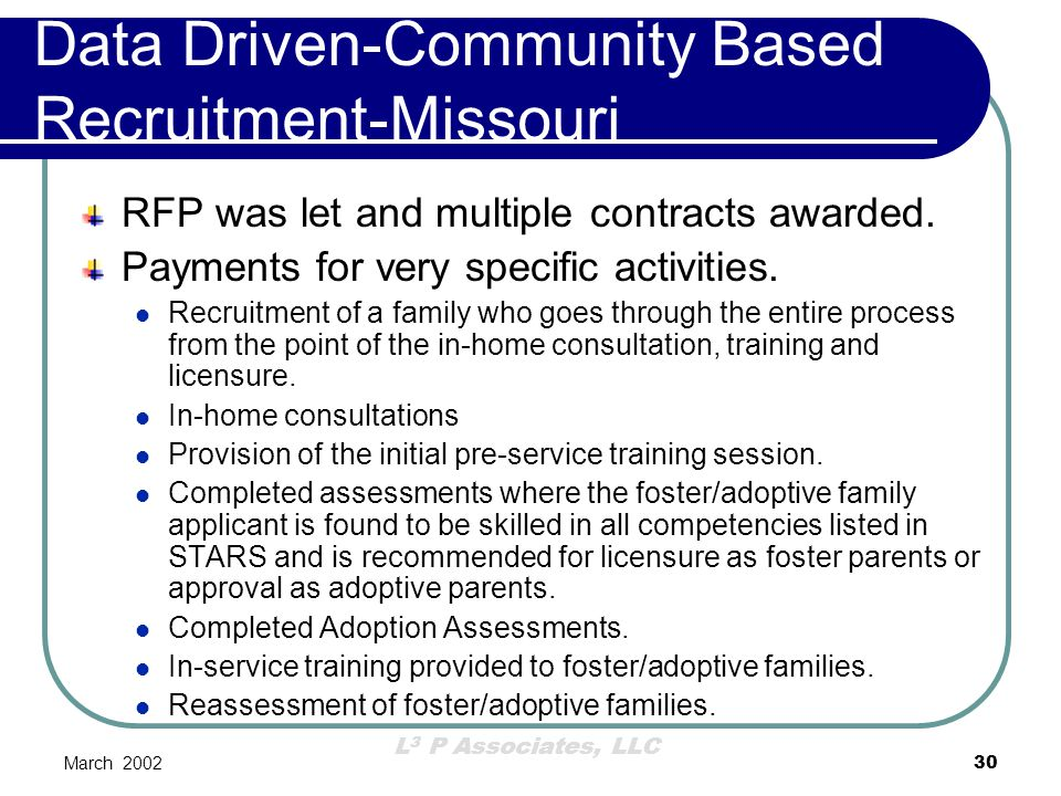 L 3 P Associates, LLC March 200230 Data Driven-Community Based Recruitment-Missouri RFP was let and multiple contracts awarded. Payments for very spec