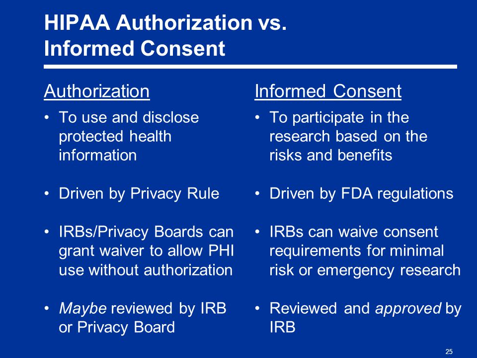 25 HIPAA Authorization vs.