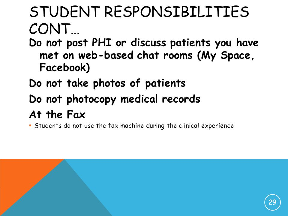 STUDENT RESPONSIBILITIES CONT… Do not post PHI or discuss patients you have met on web-based chat rooms (My Space, Facebook) Do not take photos of pat